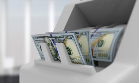 oficinista: Contador de dinero electrónico con billetes de un dólar