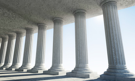 3d temple: Classic Ancient Interior with sun rays breaking through a columns Stock Photo