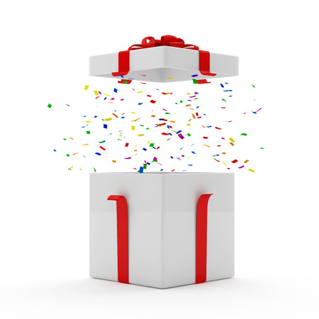 open present: Opened Gift Box with Confetti inside over white background