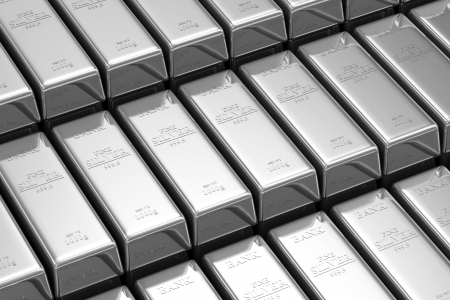 silver bars: Stack of Silver Bars in the Bank Vault