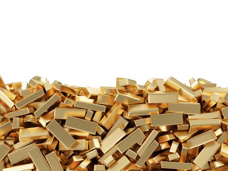 Barre d'oro isolato su sfondo bianco con il posto per il vostro testo