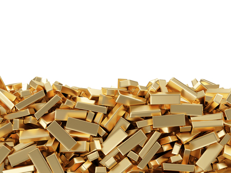 gold ingot: Golden Bars isolated on white background with place for your text