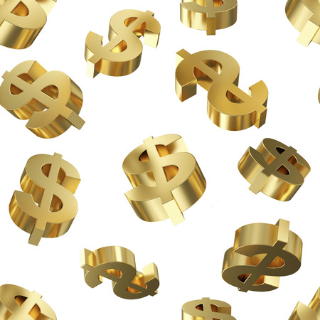 Golden Dollar Signs Seamless Pattern Background
