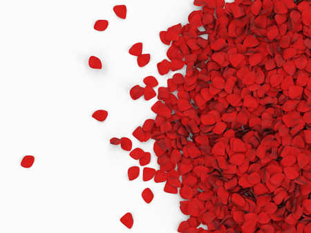 Heap of Red Rose Petals isolated on white background with place for Your text