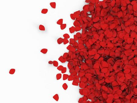 Hoop van rode rozenblaadjes geïsoleerd op witte achtergrond met plaats voor uw tekst Stockfoto