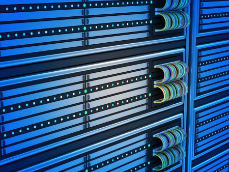 data processor: Close-up of Modern Computer Servers in Data Center