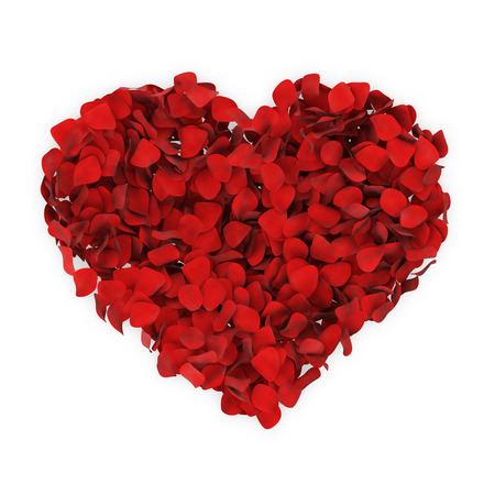 Heart made from Red Rose Petals isolated on white background photo
