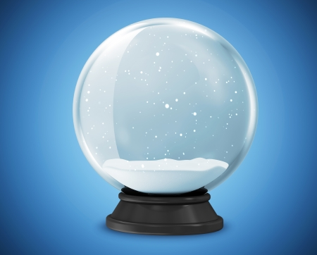 Snow Globe on blue background