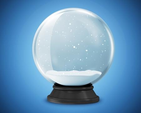snow crystal: Snow Globe on blue background