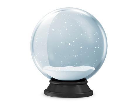 nieve navidad: Snow Globe aisladas sobre fondo blanco Foto de archivo