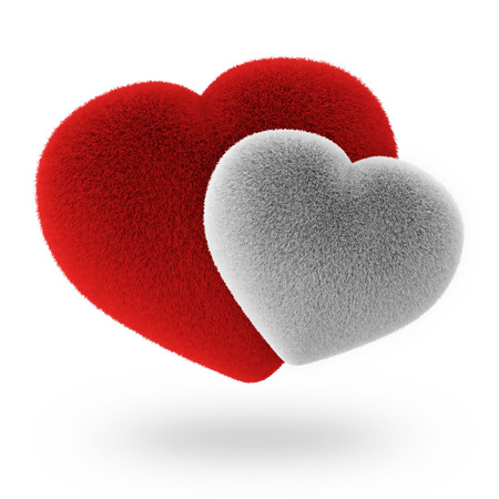 Couple White and Red Furry Hearts isolated on white background photo