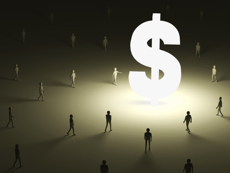 Conceptual Image of People walking into the lighten Dollar Symbol photo