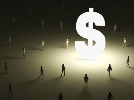 lighten: Conceptual Image of People walking into the lighten Dollar Symbol