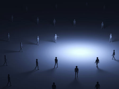 Conceptual Image of People walking into the light with place for Your Object