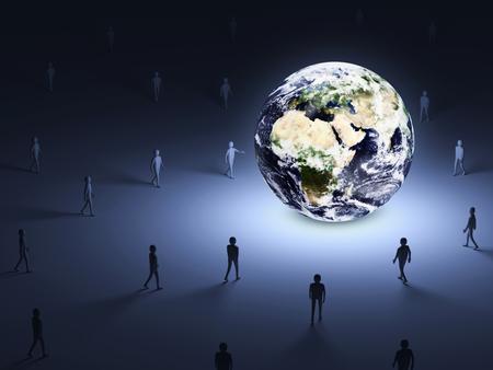 lighten: Conceptual Image of People walking into the lighten Earth Globe   Stock Photo