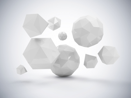 polyhedron: Abstract Polygonal Geometric Shapes Stock Photo