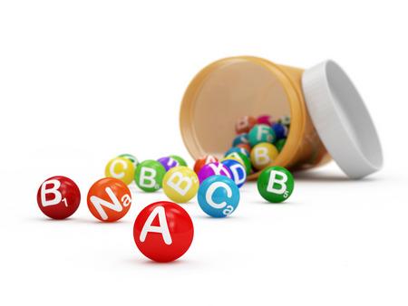 selenium: Pills Bottle with Vitamins inside isolated on white background