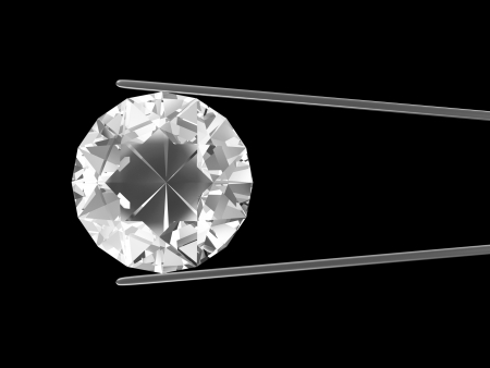 Diamond in the tweezers isolated on black background
