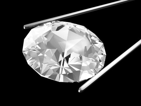 pinzas: Diamante en las pinzas aisladas sobre fondo negro Foto de archivo