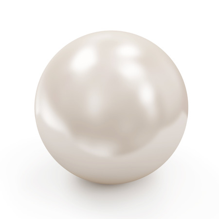 Shiny White Pearl isolated on white background photo