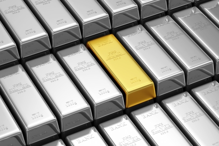 Golden Bar Conceptual Image  Stack of Golden and Silver Bars in the Bank Vault photo