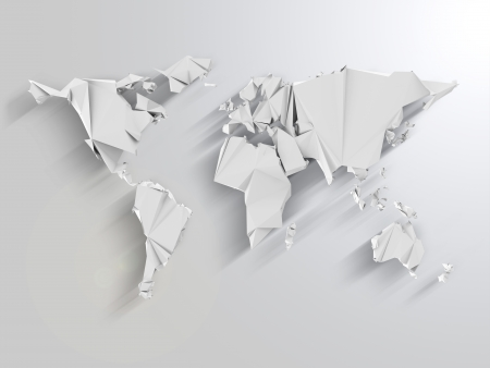 Abstract World Map in Origami Style with Long Shadows Effect