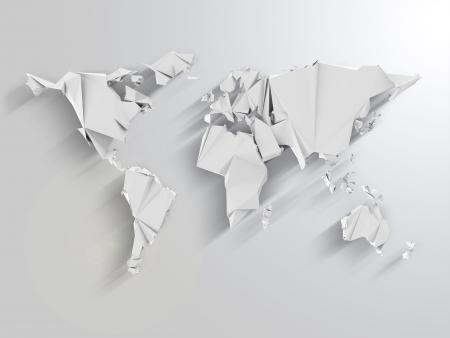 Abstrakte Weltkarte in Origami-Art mit langen Schatten-Effekt Standard-Bild