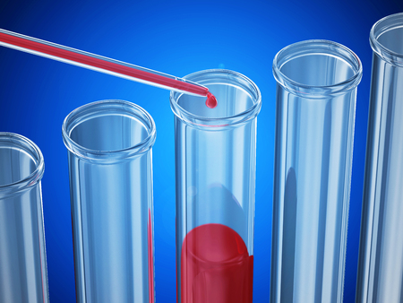 Blood test  Pipette puts blood samples into a glass tube over blue background photo