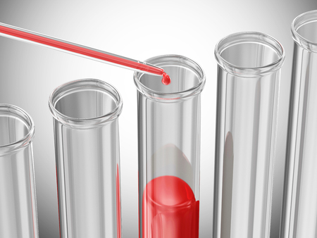 Blood test  Pipette puts blood samples into a glass tube over gradient background photo