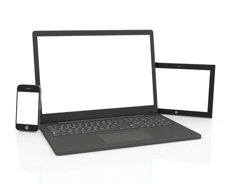 palmtop computer: Communication equipment  Blank Laptop, Smart Phone and Tablet PC isolated on white background