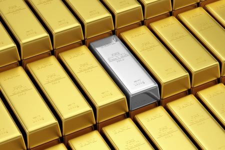 Silver Bar Conceptual Image  Stack of Silver and Golden Bars in the Bank Vault photo