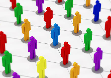 population: Colorful People Network  Social Network Concept