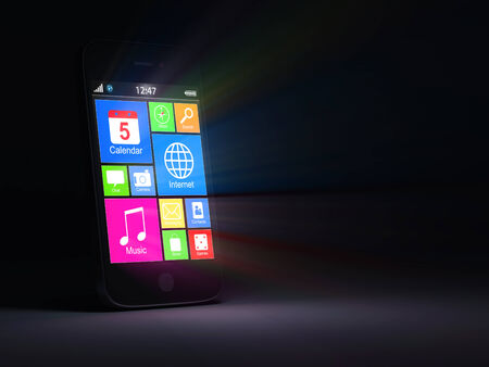 Conceptual Image of Touchscreen Smart Phone with Glowing Rays photo