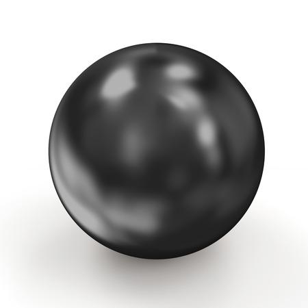 Shiny Black Pearl isolated on white background photo