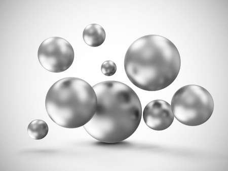 3d ball: Heap of Metal Spheres Abstract Geometric Background Stock Photo