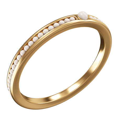 rich couple: Golden ring with pearls isolated on a white background