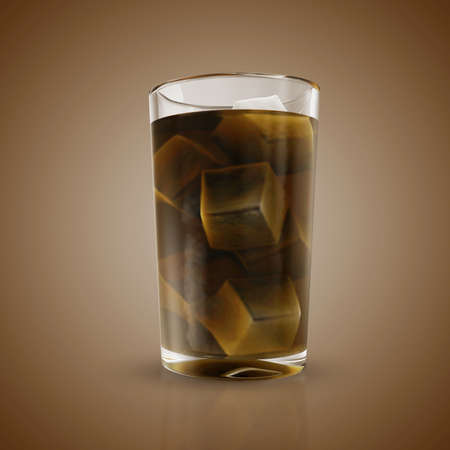 tempting: Soda in glass with ice cubes