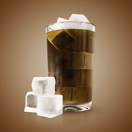 Soda in glass with ice cubes photo