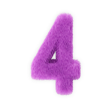 Pink Furry Numbers isolated on a white background  Number 4  photo
