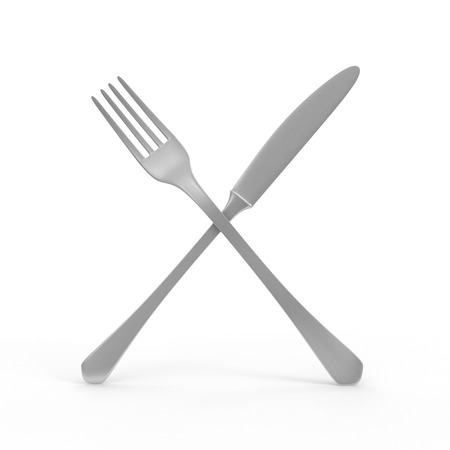 Silver Knife and Fork Crossed isolated on white background photo
