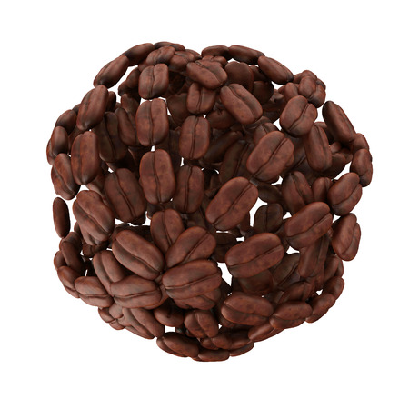 Sphere made from heap of coffee beans isolated on white background photo