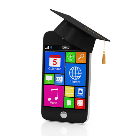 Black Touchscreen Smartphone with Graduation Cap isolated on white background  Education Concept photo