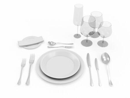 Table setting isolated on white background photo