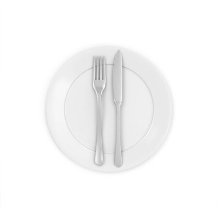 kitchen ware: White Plate with Fork and Knife isolated on white background Stock Photo