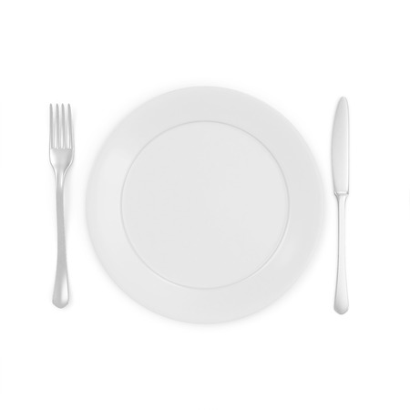 kitchen ware: Empty white Plate with Fork and Knife isolated on white background Stock Photo
