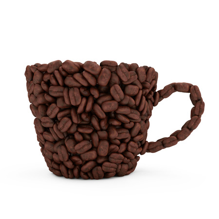 Coffee Cup made from coffee beans isolated on white background photo