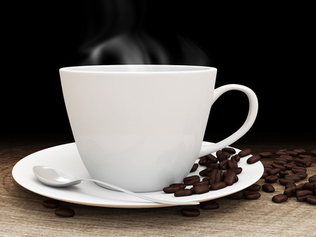Coffee cup and beans on a wooden table with place for Your text photo
