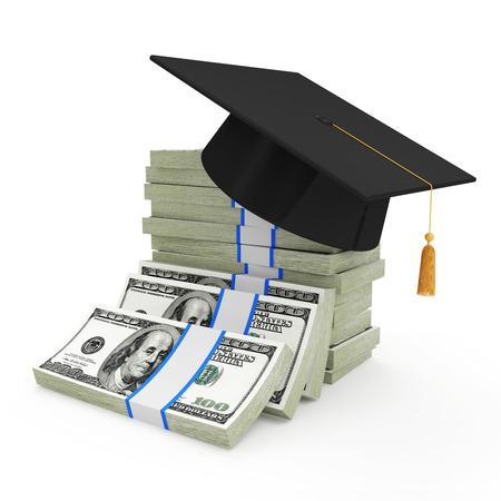 graduado: Concepto de la educación Casquillo de la graduación en la pila de billetes de dólar aislados sobre fondo blanco Foto de archivo