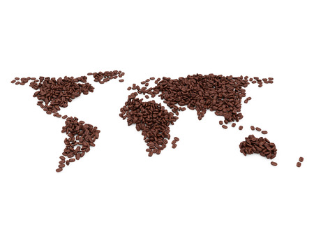 World map made from coffee beans isolated on white background