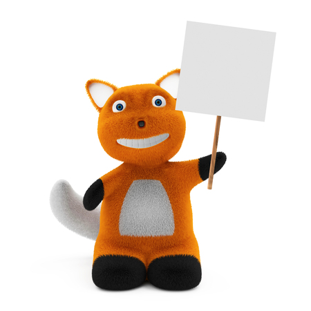 foxy: Little Cartoon Fox with Blank Board isolated on white background